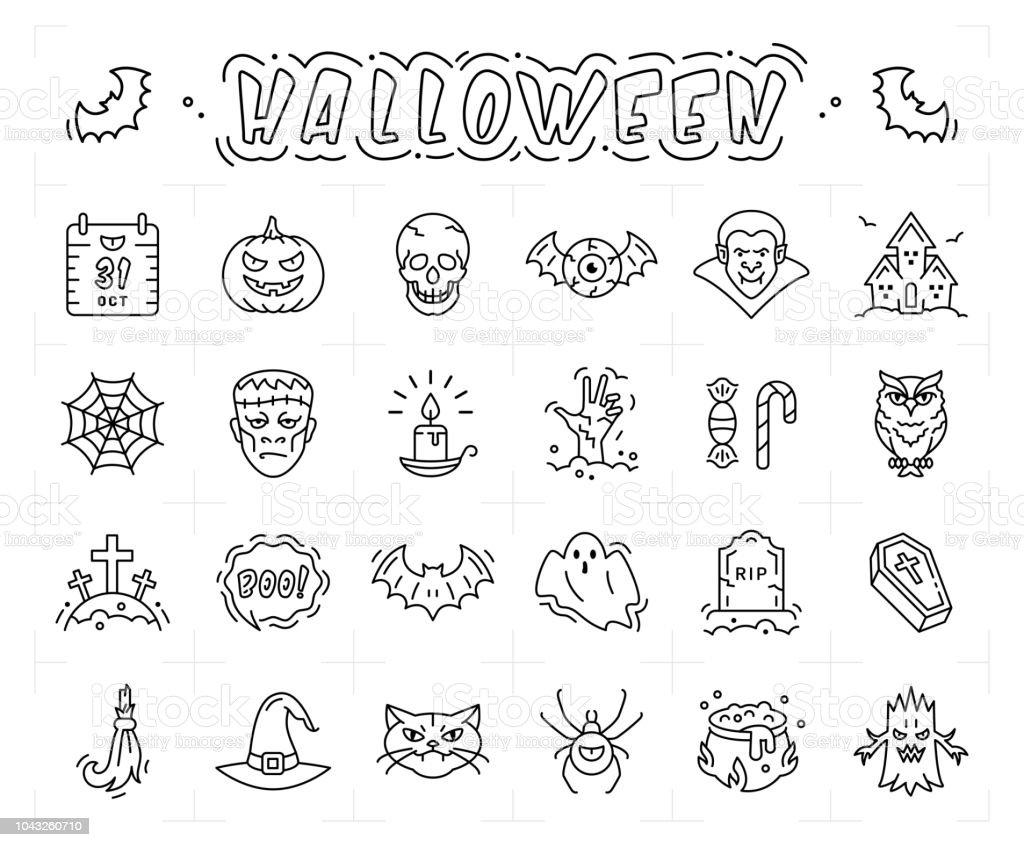 Halloween Icon Set Thin Line Art Halloween Symbols Vector Outline