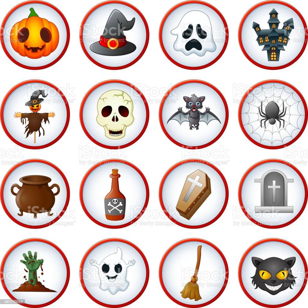 Halloween-Symbol set Lizenzfreies halloweensymbol set stock vektor art und mehr bilder von besen