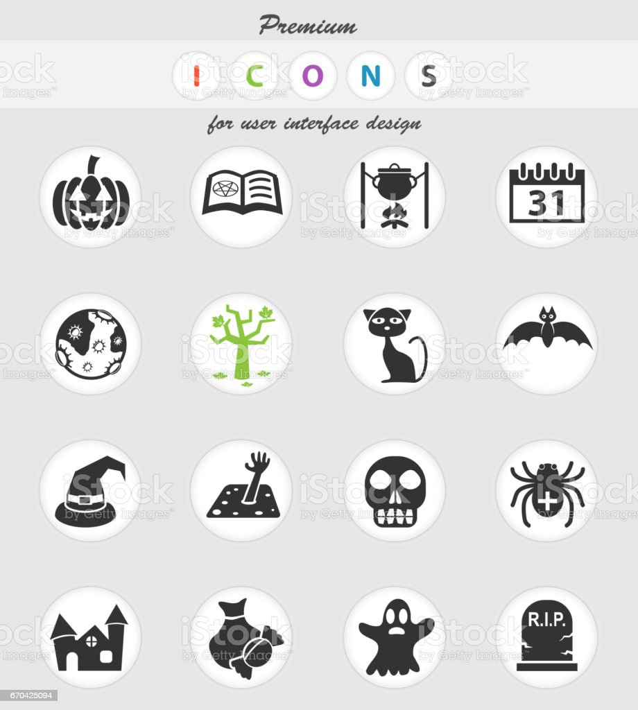 halloween icon set vector art illustration