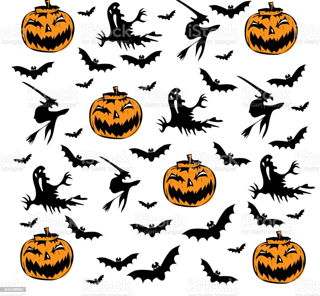 halloween icon set with pumpkins bats and witches stock vector art