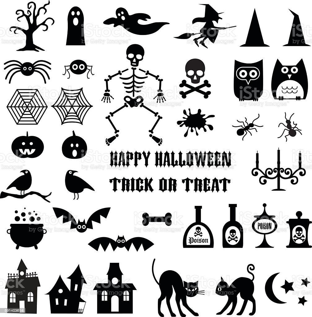 halloween icon silhouettes clipart ろうそく立てのベクターアート