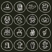 Vector File of Doodle Halloween Icon Set