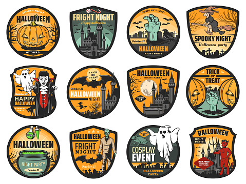 Halloween icons of pumpkins, ghosts, bats, witches