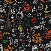 Halloween icons seamless pattern.Doodles sketchy chalkboard