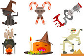 Halloween icons set, black cat in a witch hat, crossed candy canes, cauldron with potion, pumpkin, zombie, design elements for a holiday vector Illustration isolated on a white background.