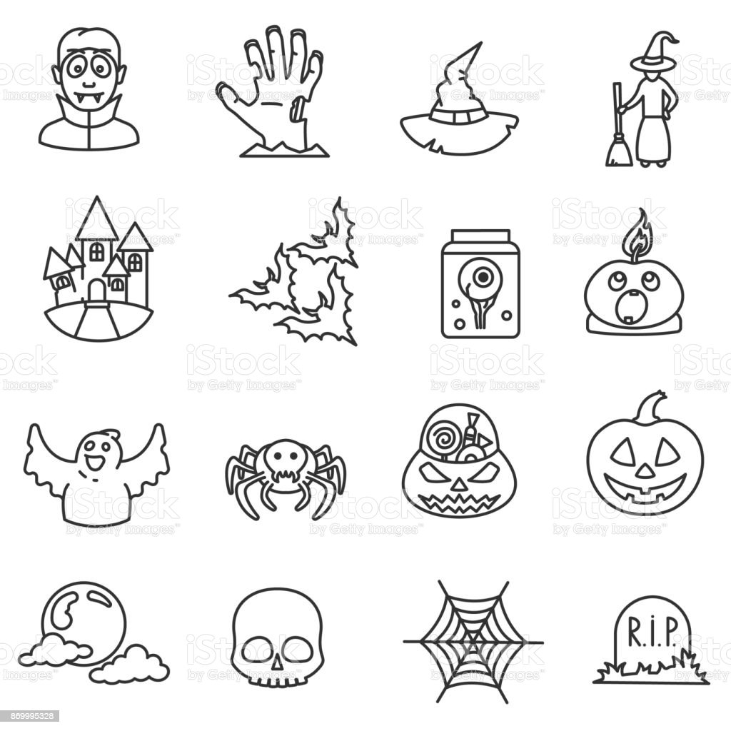 Halloween icons set. Editable stroke vector art illustration