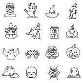 Halloween icons set. Editable stroke