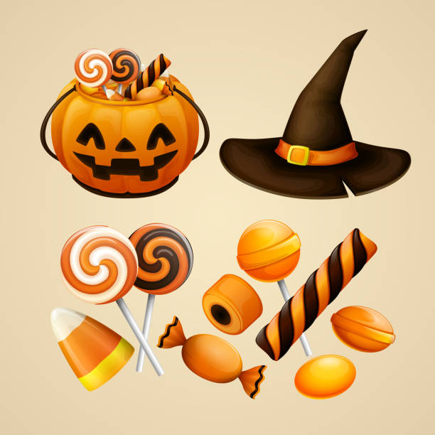 halloween icons set - halloween candy stock illustrations
