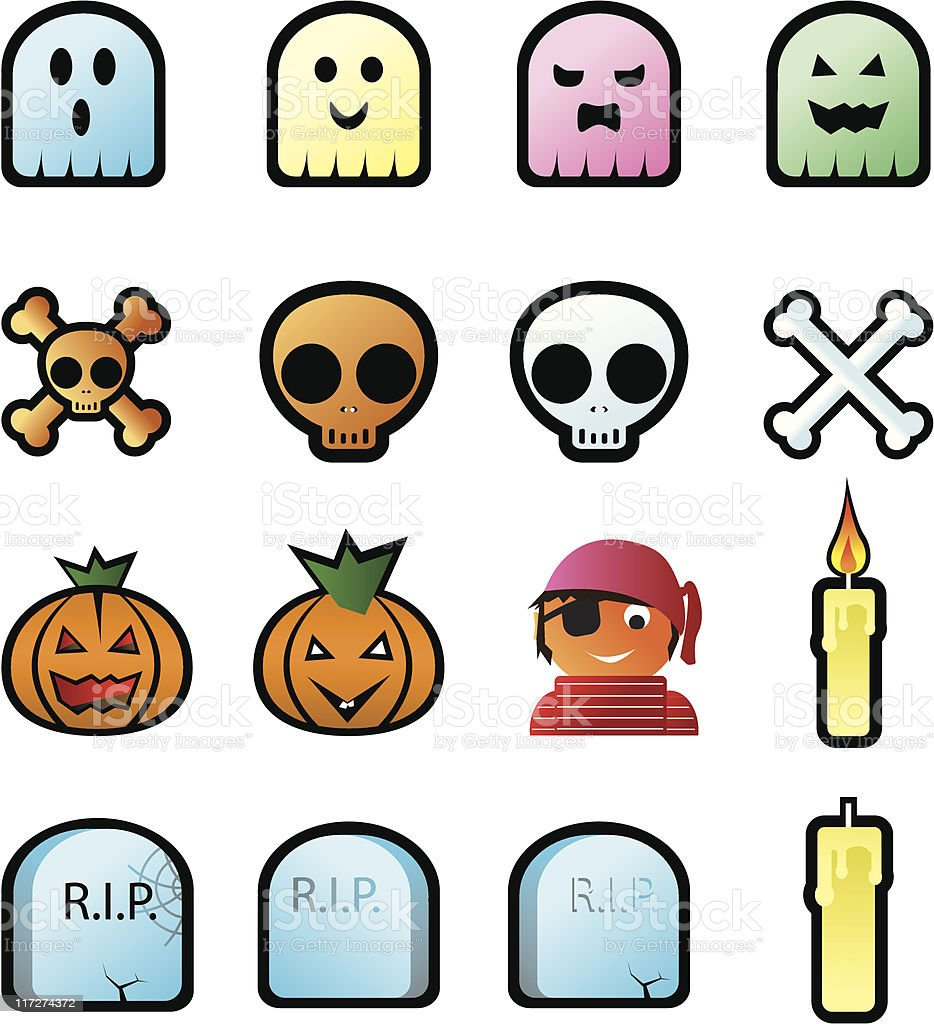 halloween icons set vector art illustration