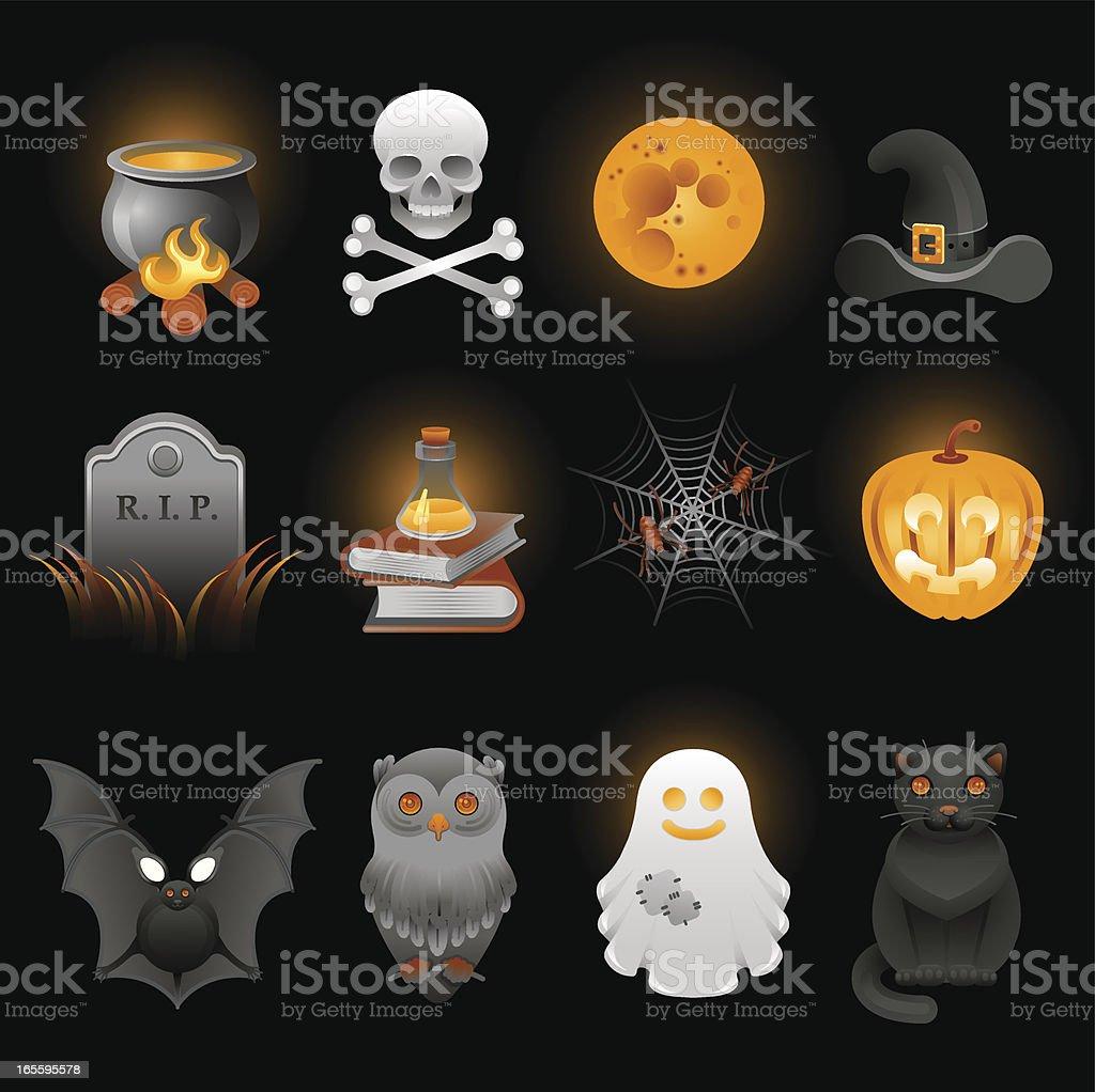 Conjunto de iconos de Halloween ilustración de conjunto de iconos de halloween y más banco de imágenes de acontecimiento libre de derechos