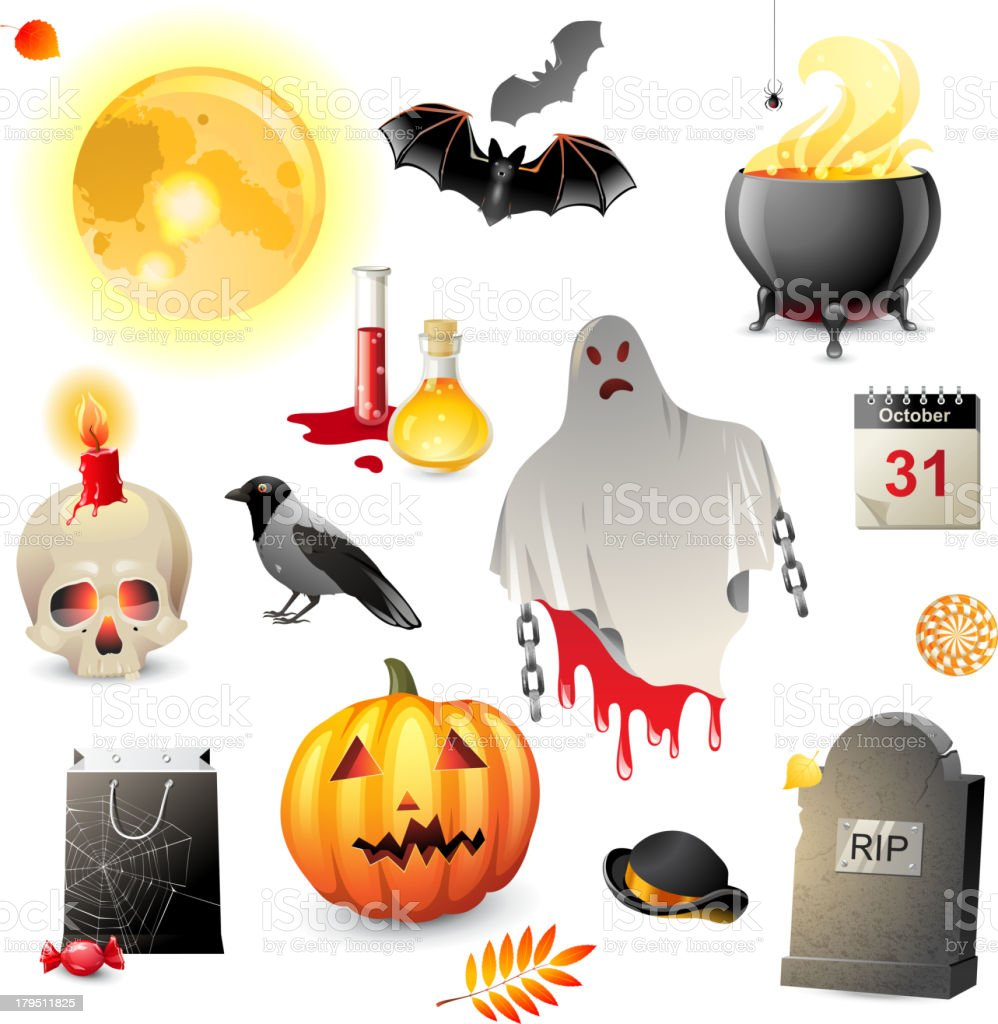 Halloween icons set royalty-free stock vector art