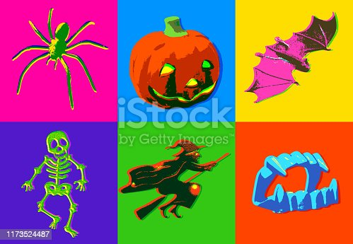 Posterised or Pop Art styled Halloween Icons