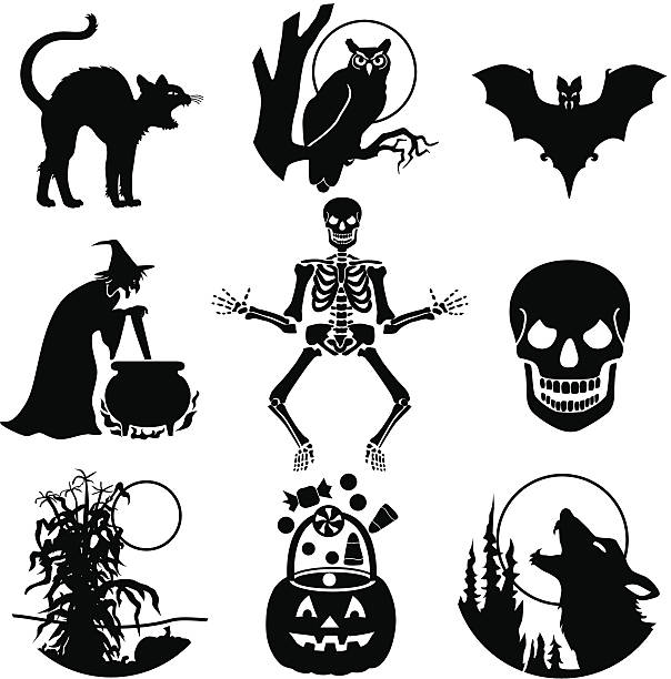 Halloween icons Vector illustrations of various halloween characters. cat skeleton stock illustrations