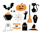A set of illustrated vector Halloween icons