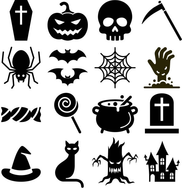 halloween iconsvector illustration. - halloween candy stock illustrations