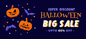 Halloween illustration for big sale discount banner in flat design with two pumpkins and bats