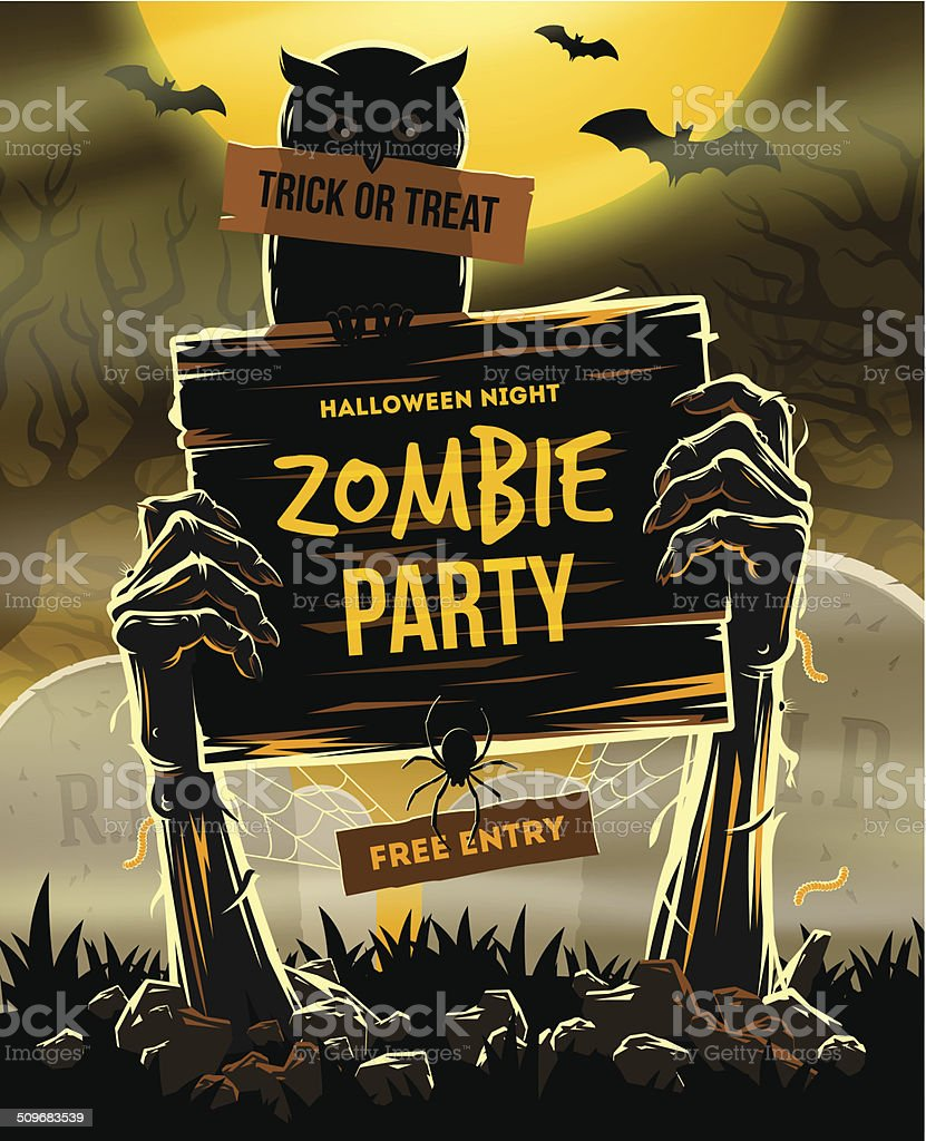 Halloween illustration - invitation to zombie party vector art illustration