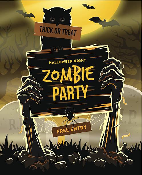 halloween illustration - invitation to zombie party - tombstone stock illustrations, clip art, cartoons, & icons