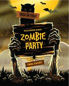 Halloween illustration - invitation to zombie party