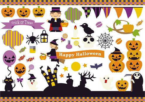 Halloween illustration material set