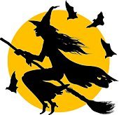 Halloween illustration of a witch flying on broom