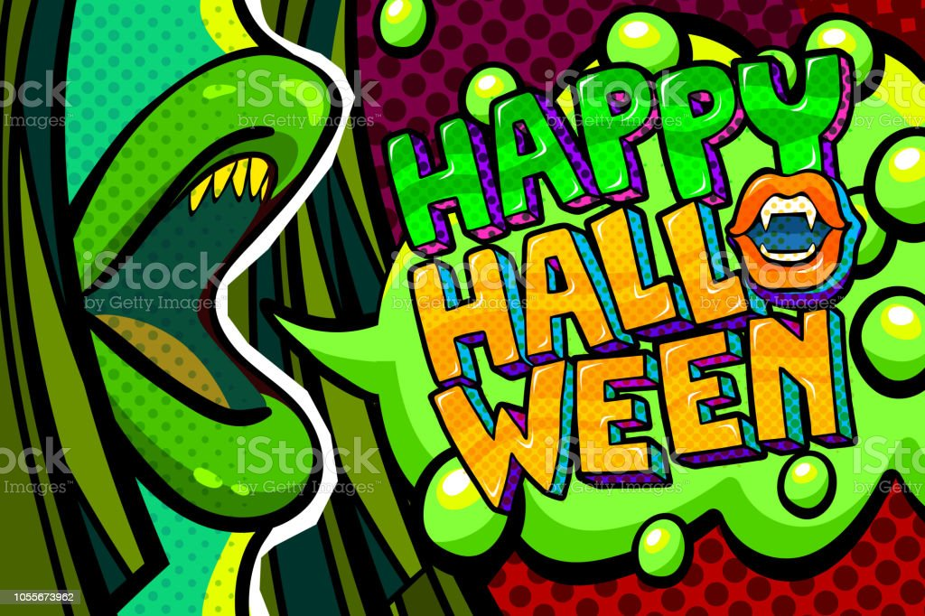 943276d101c Halloween Illustration Open Green Mouth With Fangs And Happy ...