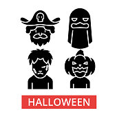 Halloween illustration, thin line icons, linear flat signs, outline pictograms, vector symbols set, editable strokes