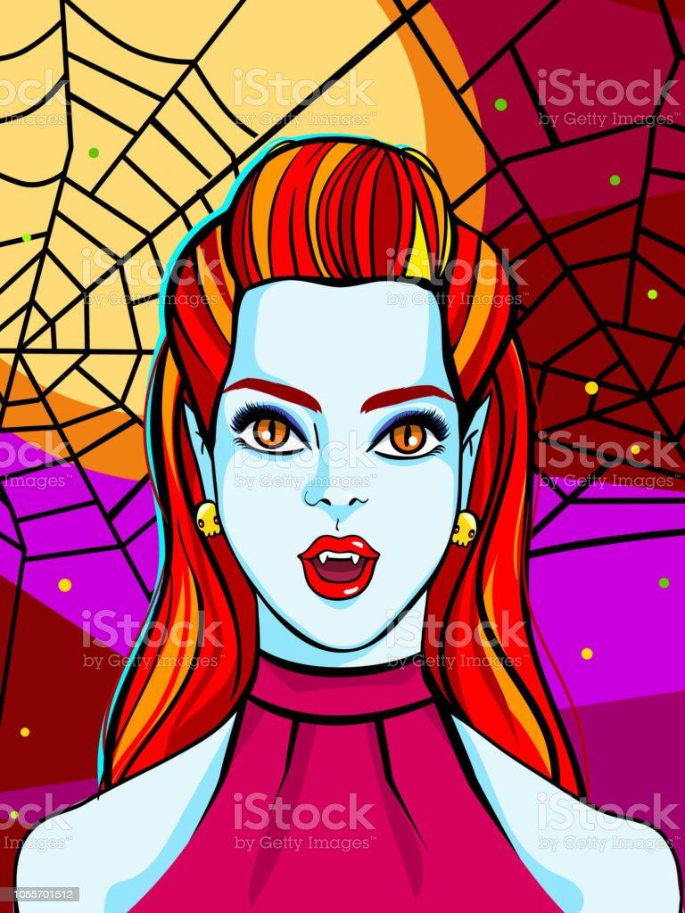 ハロウィンのイラストポスターや Greating カードに赤髪の吸血鬼女