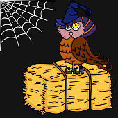 Scalable vectorial image representing a Halloween illustration with owl.