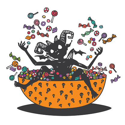 Halloween Imp playing in the Candy Bowl