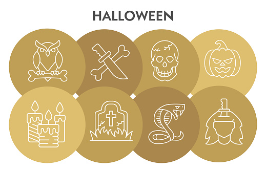 Halloween infographic design template with icons. Horror infographic visualization design on white background. Attribute for halloween. Creative vector illustration for infographic.