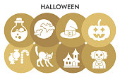 Halloween infographic design template with icons. Thirty first of october infographic visualization design on white background. Themed halloween party. Creative vector illustration for infographic