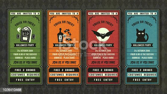 Halloween invitation collection retro style collection.Halloween vector ticket set.