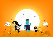 Halloween invitation poster paper art, pumpkin, black cat, candy, zombie monster, witch and spooky cartoon characters full moon, autumn celebration party background vector illustration