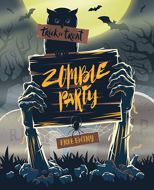 bildbanksillustrationer, clip art samt tecknat material och ikoner med halloween invitation poster - signboard in hands of zombies - ljus på grav