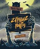 Halloween invitation poster - signboard in hands of zombies