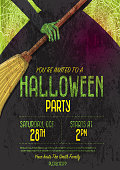 Halloween Invitation template design with witch dress and broom stick. Sample text included. Easy to edit.