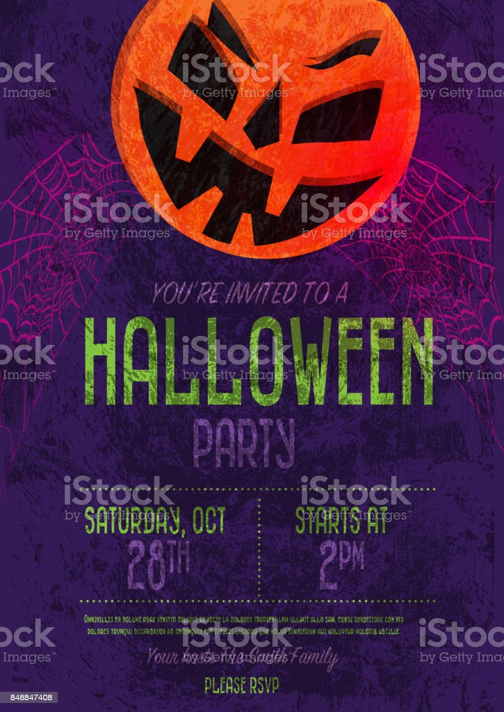 Halloween Invitation Template Design Stock Vector Art   Istock