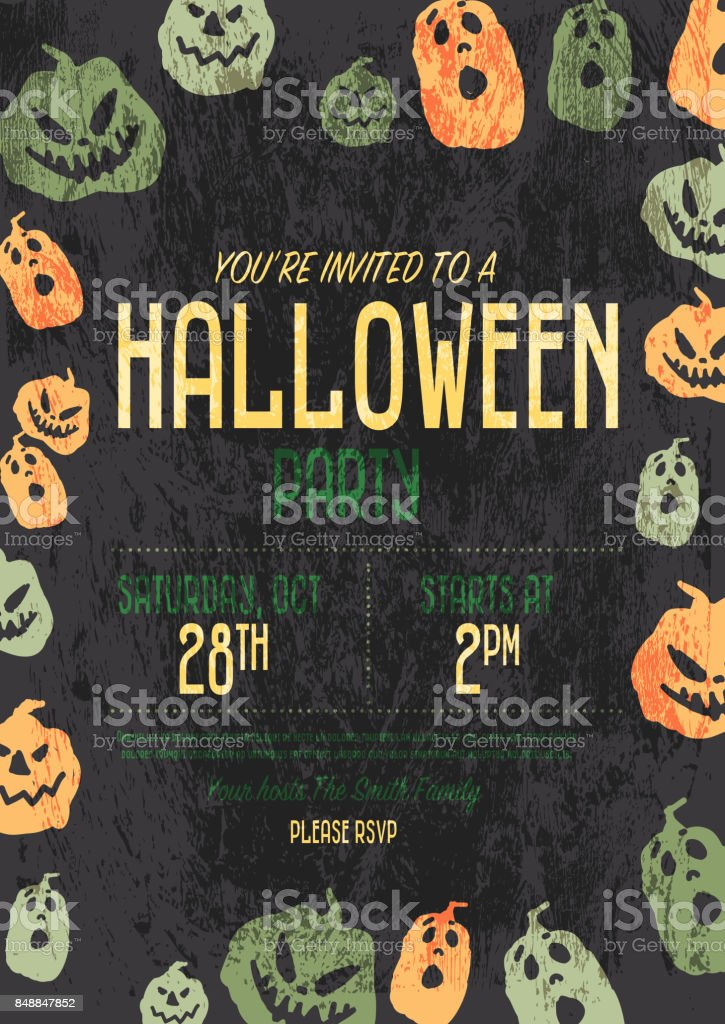 halloween invitation template design stock vector art more images