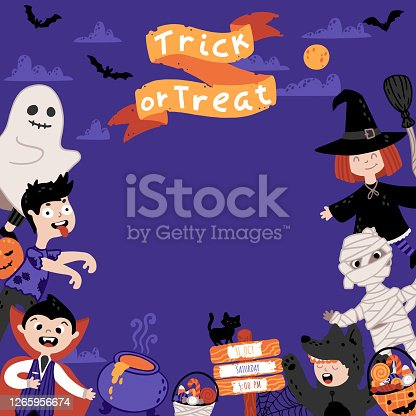 istock Halloween Invitation template for Kids Costume Party. A group of kids in various costumes. Night sky background. Cute childish illustration in cartoon hand-drawn style. Lettering Trick or Treat 1265956674