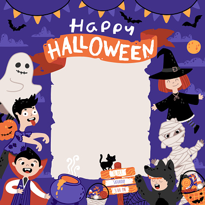 Halloween Invitation template for Kids Costume Party. A group of kids in various costumes. Cute childish illustration in cartoon hand-drawn style. A sheet of old paper and Lettering