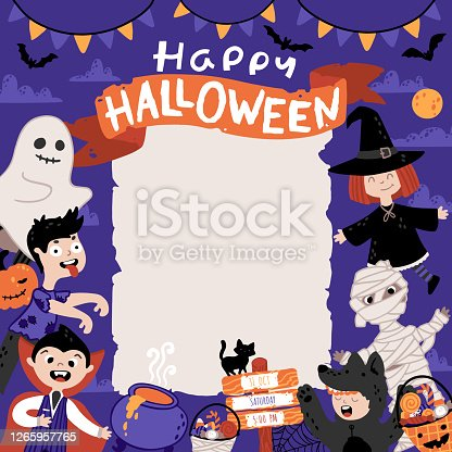 istock Halloween Invitation template for Kids Costume Party. A group of kids in various costumes. Cute childish illustration in cartoon hand-drawn style. A sheet of old paper and Lettering 1265957765