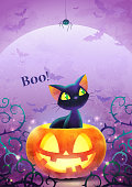 Happy Halloween invitation. Holiday trick or treat poster. Cartoon black cat face pumpkin bat and spider on the full moon background. Greeting card. Watercolor design. Vector illustration. A4 size.