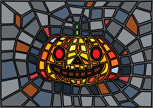 Halloween items. illustration Vector decorative pumpkins stained glass style