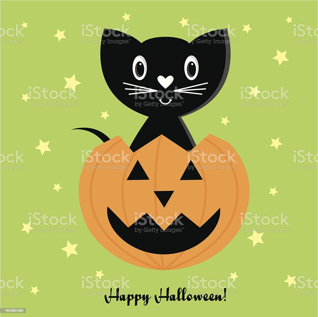 Halloween Jack O Lantern With Cute Witch Cat Stock Vector Art & More ...