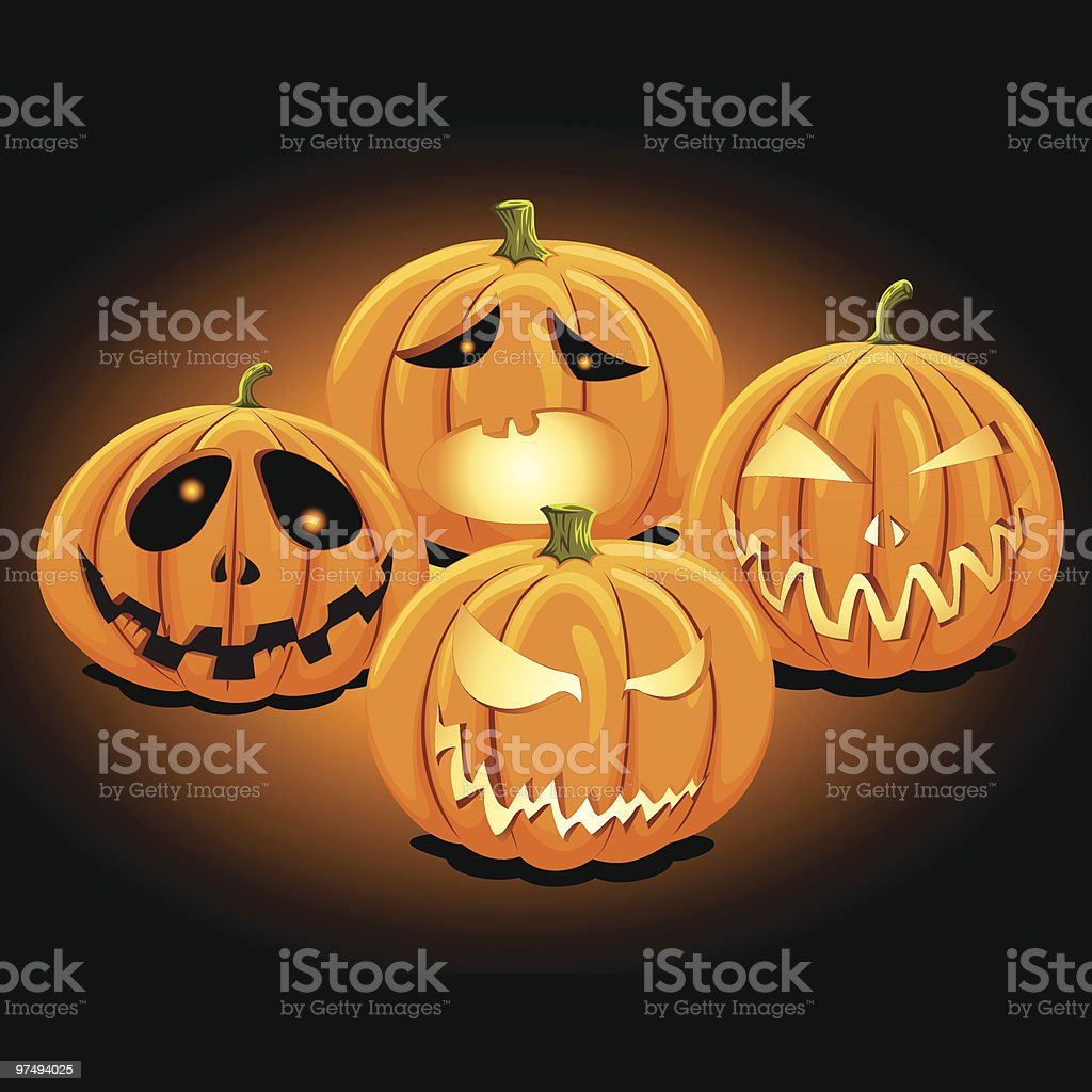 Halloween Jack'O Lantern Set 1 royalty-free halloween jacko lantern set 1 stock vector art & more images of carving - craft product
