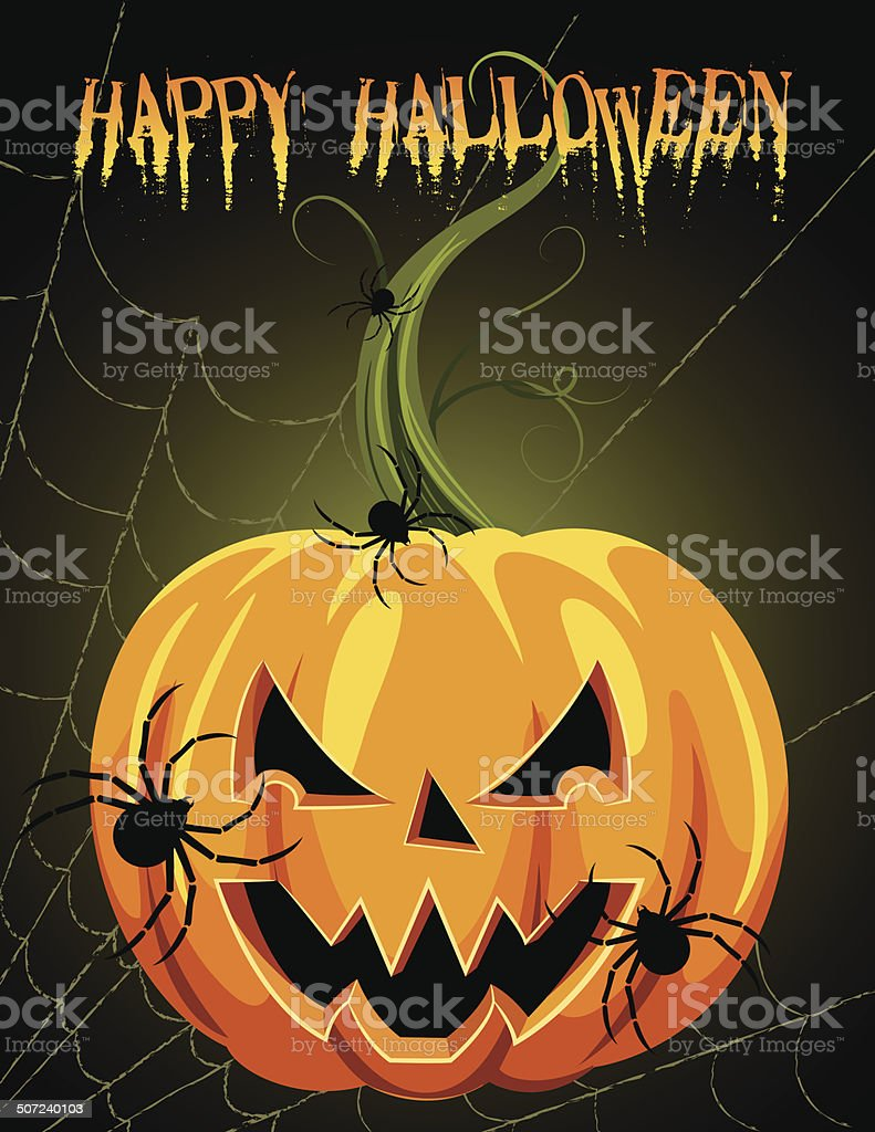 Halloween Jack-O-Lantern Face With Spiders royalty-free stock vector art