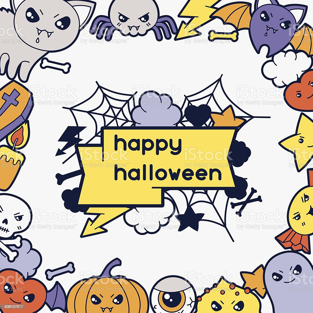 Halloween kawaii greeting card with cute doodles. royalty-free stock vector art