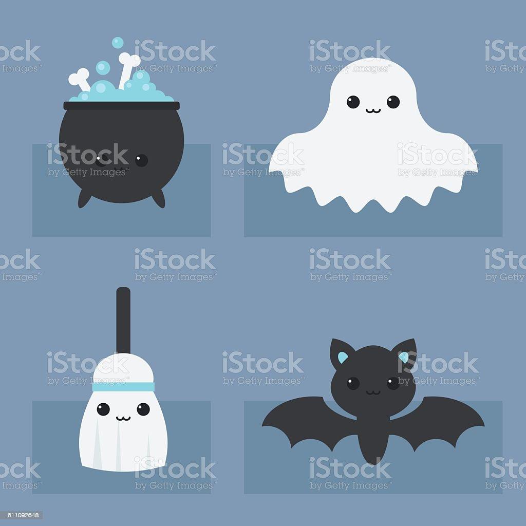 Halloween Kawaii Icons vector art illustration