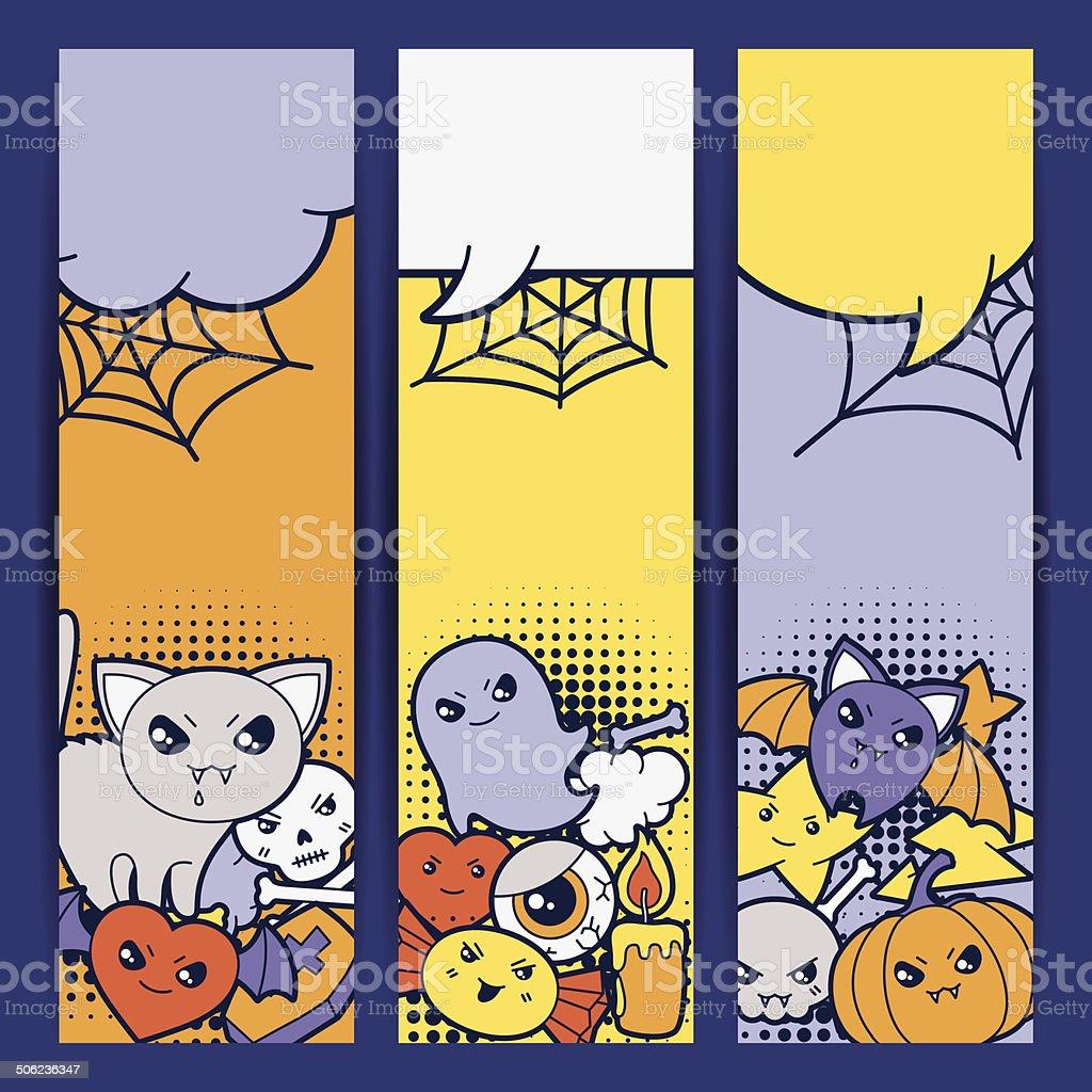 Halloween kawaii vertical banners with cute doodles. royalty-free stock vector art